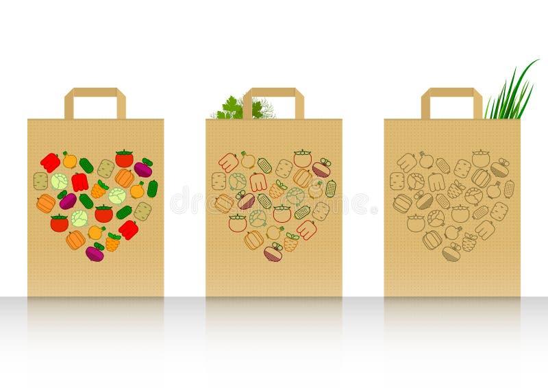 Packe med grönsaker vektor illustrationer