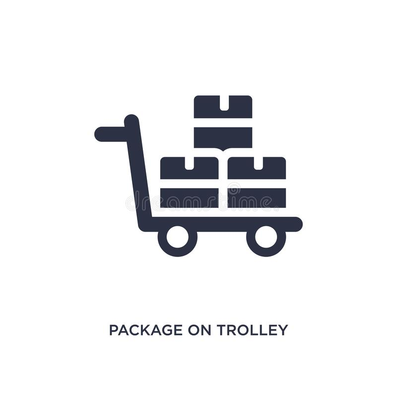 packe på spårvagnsymbol på vit bakgrund Enkel beståndsdelillustration från leverans- och logistikbegrepp stock illustrationer