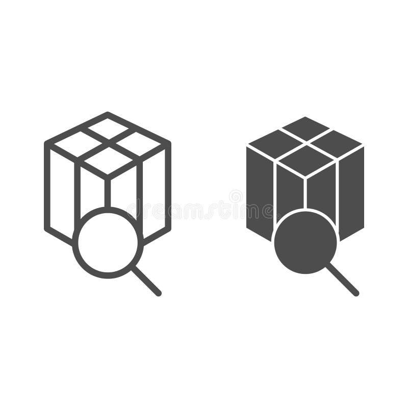 Packe som spårar linjen och skårasymbolen Ask- och förstoringsglasvektorillustration som isoleras på vit Sökandejordlott vektor illustrationer