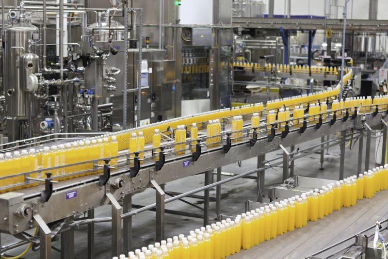 Packed bottles moving on conveyor belt in bottling industry royalty free stock images