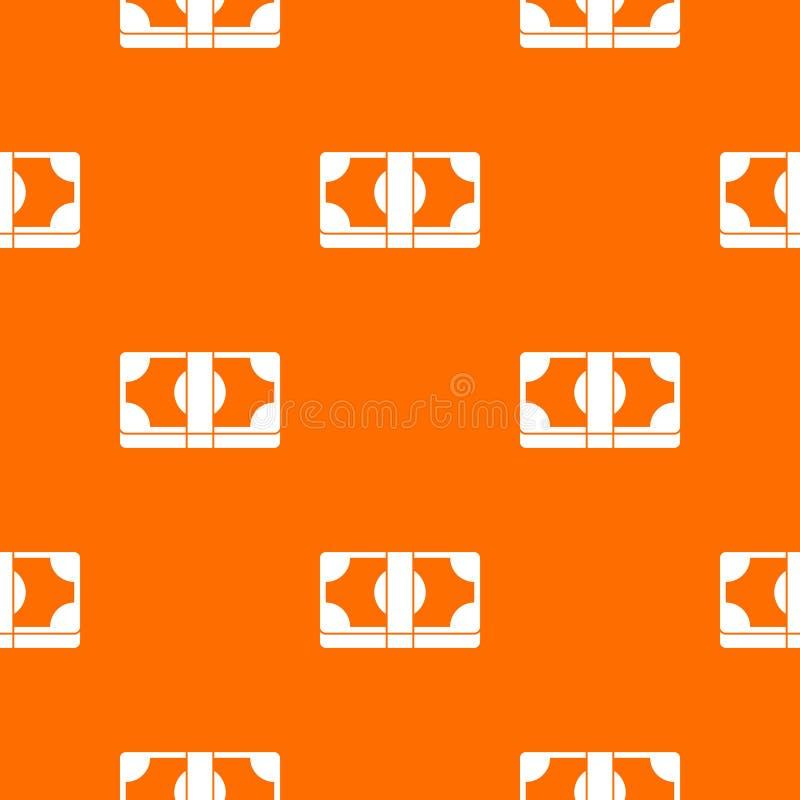 Packed dollars money pattern seamless. Packed dollars money pattern repeat seamless in orange color for any design. Vector geometric illustration vector illustration