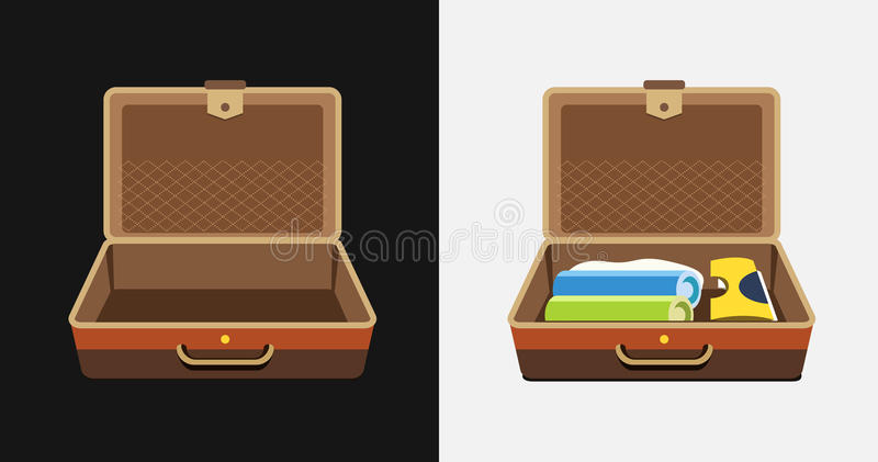 Packed and empty suitcases for summer holiday - vector isolated illustration vector illustration