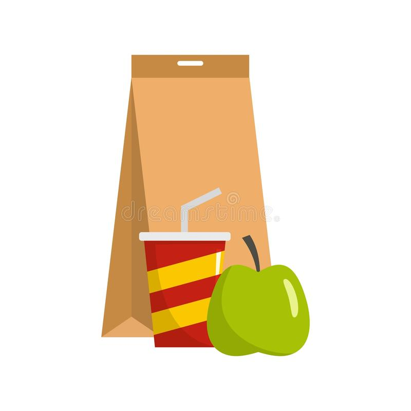 Packed lunch icon, flat style. Packed lunch icon. Flat illustration of packed lunch vector icon for web stock illustration