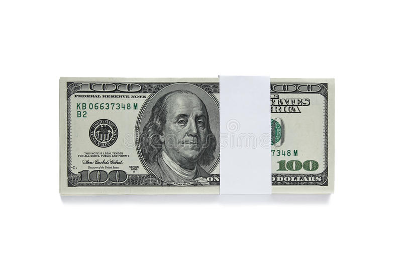 Packed One Hundred Dollar Bills  On White Stock Image