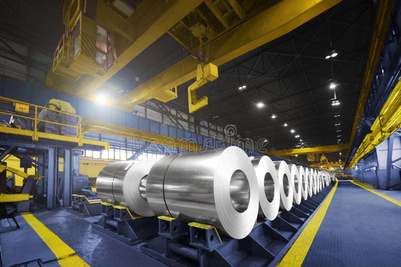 Packed rolls of steel sheet, Cold rolled steel coils royalty free stock photography