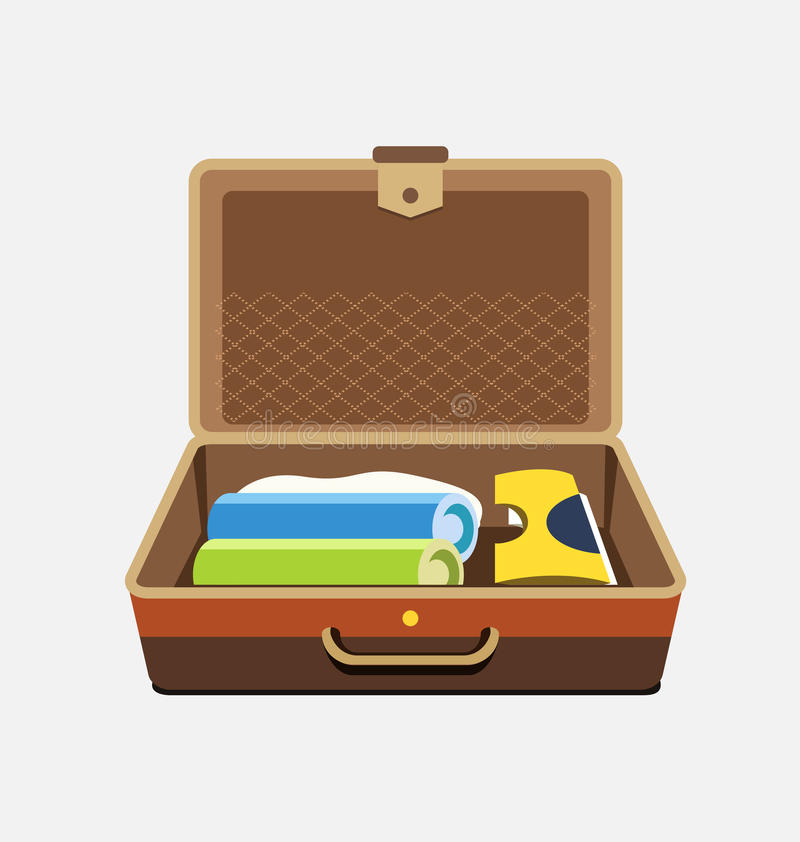 Packed suitcase for summer holiday - vector isolated illustration stock illustration