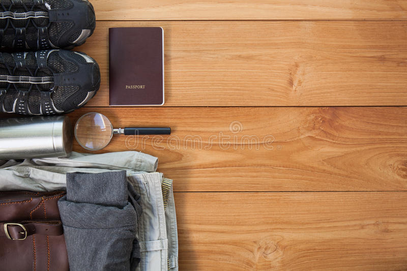 Packed suitcase of vacation items, top view stock photos