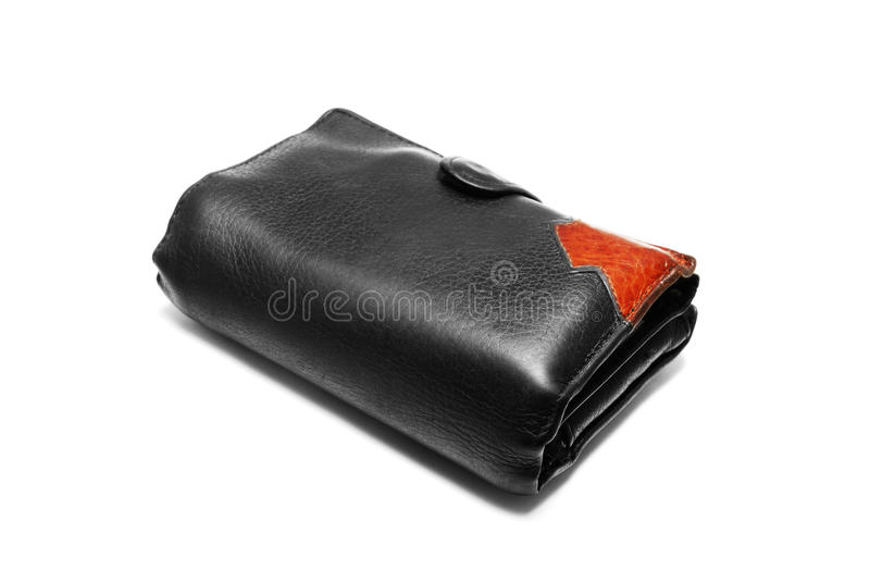 Packed wallet isolated on white. Black leather billfold is packed with money and cards. It is isolated on white royalty free stock image