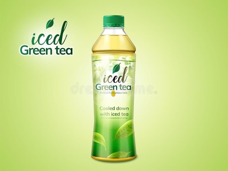 Packedesign för grönt te vektor illustrationer