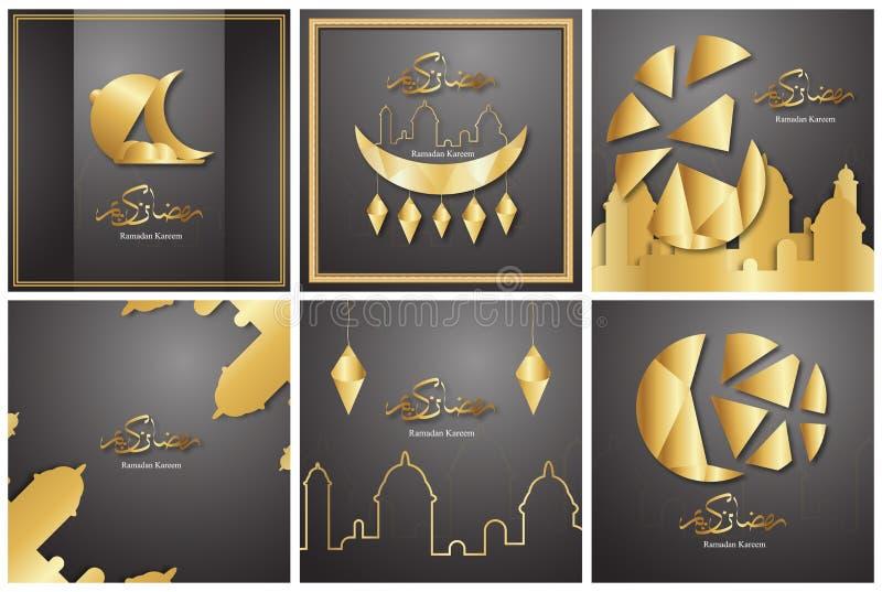 Packemall för Ramadan Kareem med svart och guld- färg design för vektor 3D i papperssnitt och hantverk för islamiskt hälsa kort, fotografering för bildbyråer
