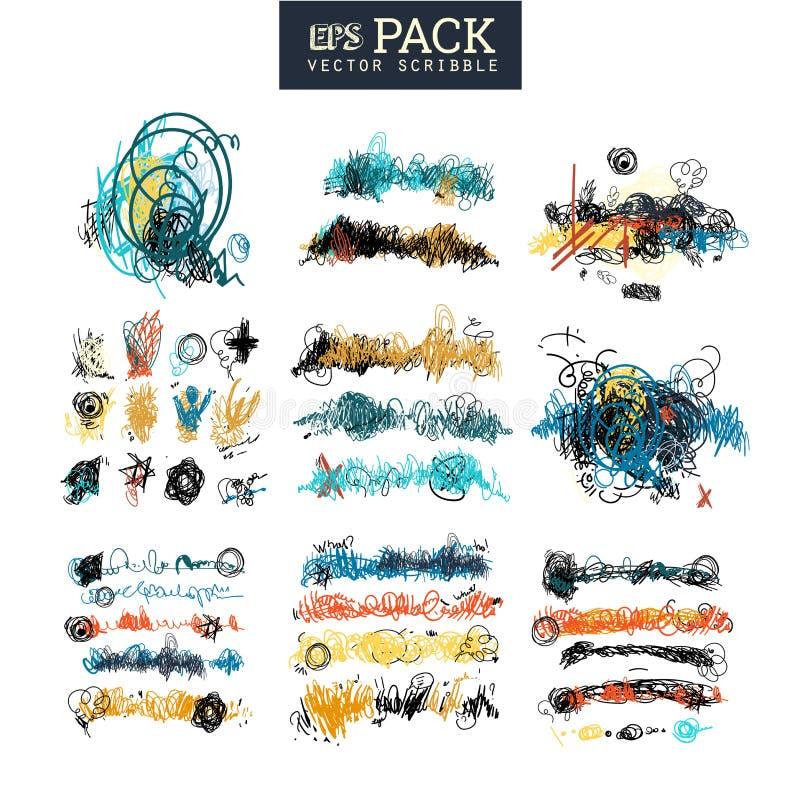 Packen av klottrar beståndsdelar Du kan använda det som borste vektor illustrationer