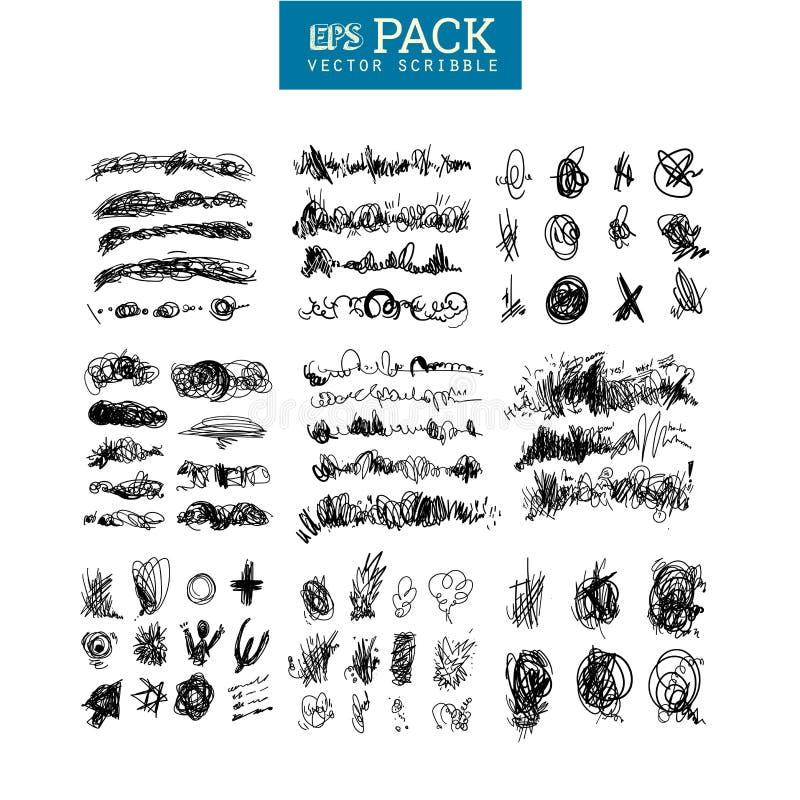 Packen av klottrar beståndsdelar Du kan använda det som borste stock illustrationer