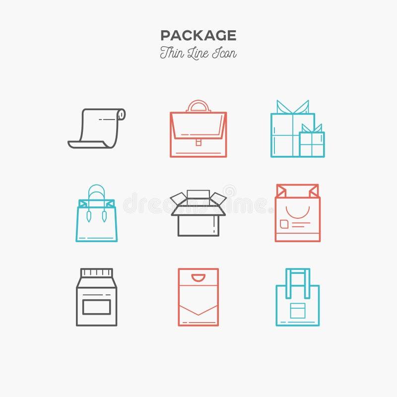 Packen gåvan, ask, den tunna linjen färgsymboler ställde in, illustratien royaltyfri illustrationer
