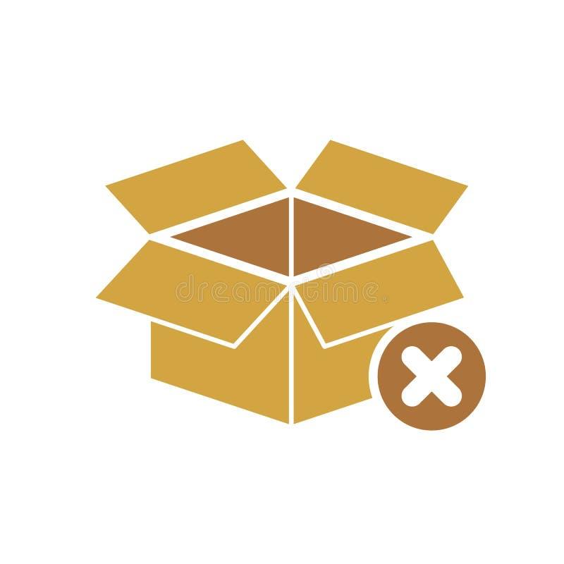 Packen Sie Ikone, Lieferung ein und Versand, öffnen Paket, unbox Ikone mit Löschenzeichen Kastenikone und Abschluss, Löschung, en vektor abbildung