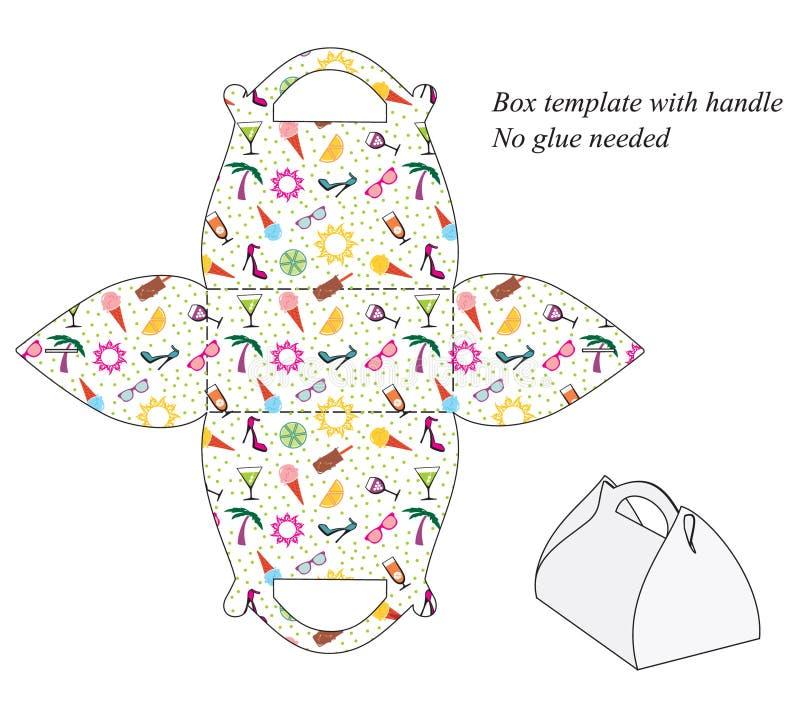 Packen Sie Schablone mit Griff, nahtloses Sommermuster ein lizenzfreie abbildung