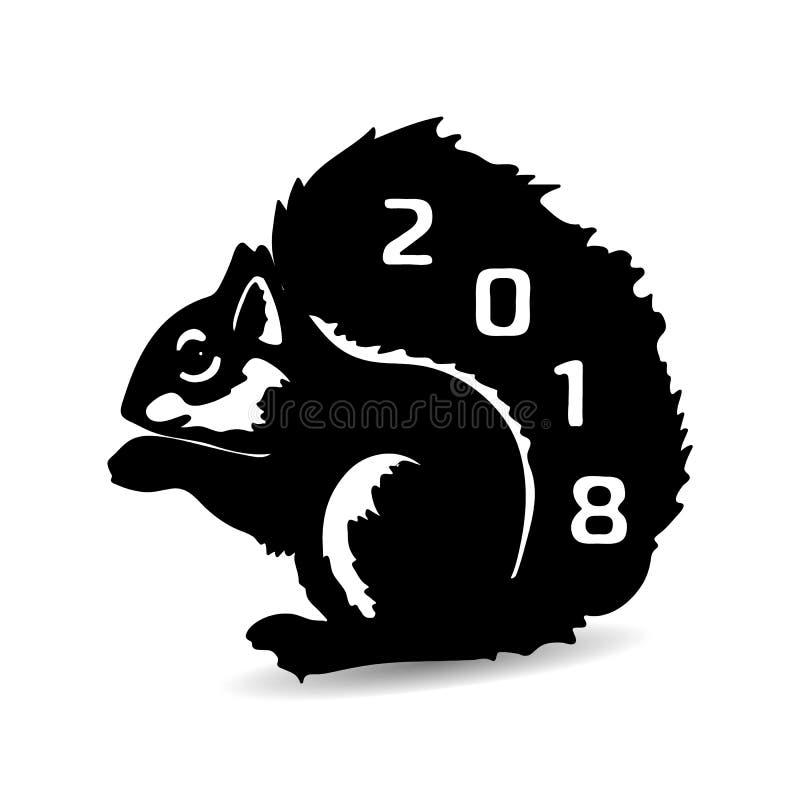 Packen Sie 2018 Sitzen, schwarzes Schattenbild auf einem weißen Hintergrund weg vektor abbildung