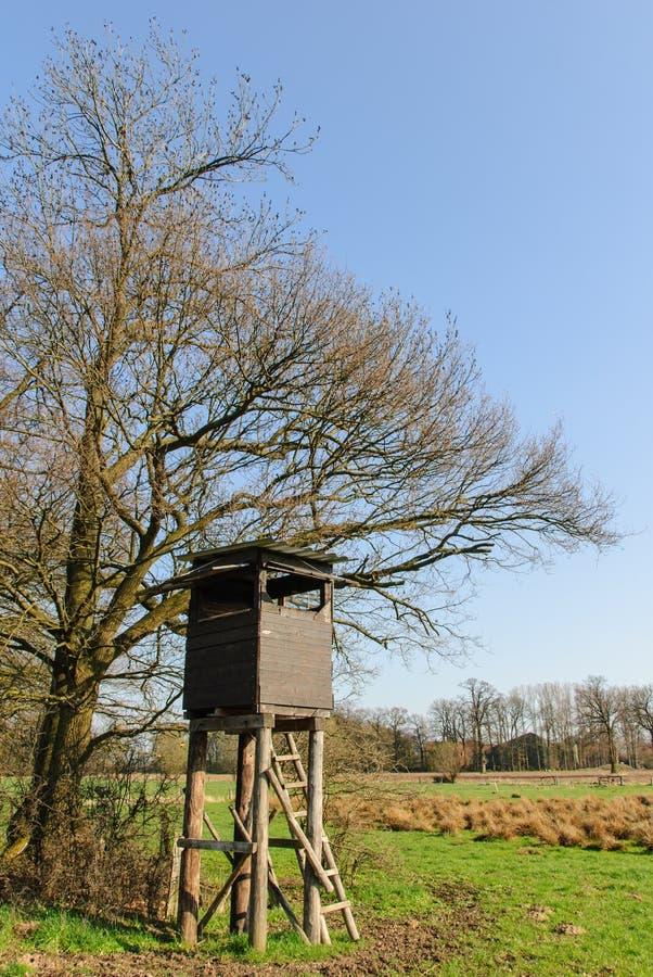 Kastenstand an einem Baum stockfotografie
