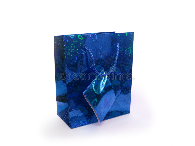 Packet. Blue party packet isolated on white stock photos