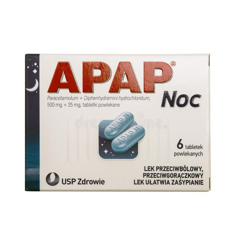 Packet of APAP paracetamol. SWINDON, UK - MAY 19, 2018: Packet of APAP Night is an analgesic and antipyretic, which combines the effects of paracetamol with a stock image