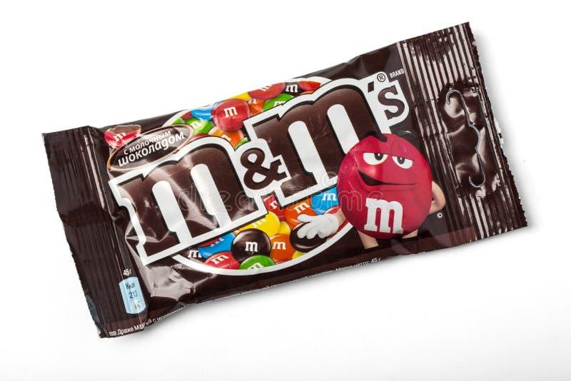 Packet of Peanut M&M's. Chisinau, Moldova - November, 12, 2015: Packet of Peanut M&M's milk chocolate made by Mars Inc. isolated on white background royalty free stock image