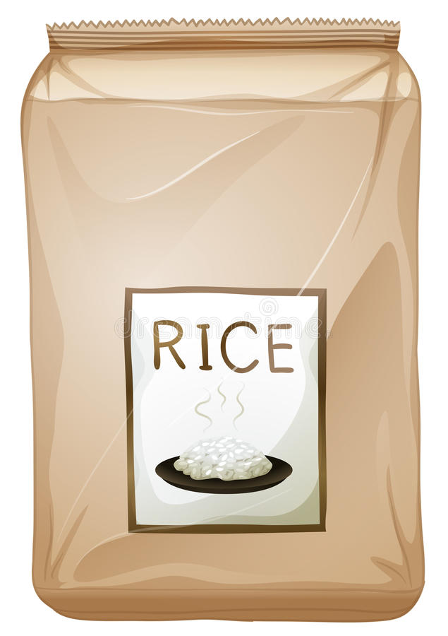 A packet of rice. Illustration of a packet of rice on a white background royalty free illustration