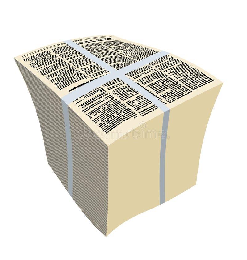 Packetidningar Bunt av tidskrifter också vektor för coreldrawillustration stock illustrationer