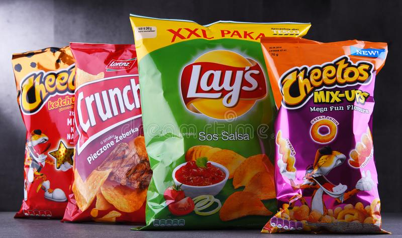 Packets of popular brands of snack food stock images