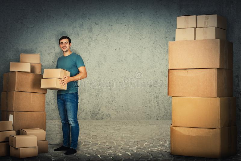 Packing boxes stock images