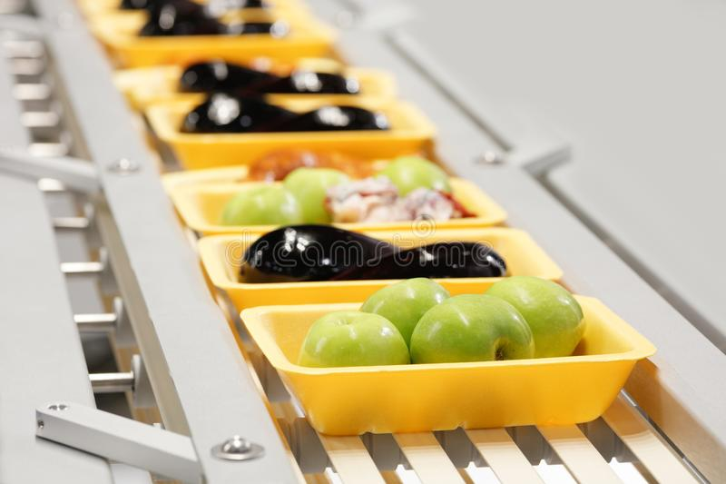 Packing conveyor for fresh farm products in the store or on the farm apples eggplant meat chicken royalty free stock photo