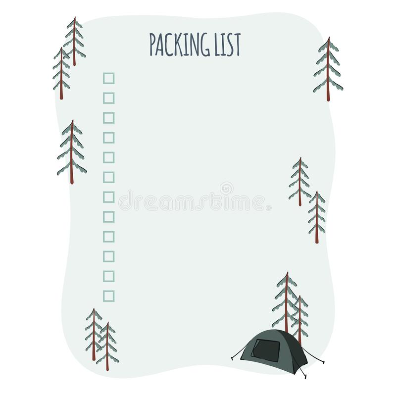 Packing List For Trip Or Travel Planner Mountains And Forest Vacation Hand Drawn Illustration Stock Vector Illustration Of Healthy Freedom 148271235