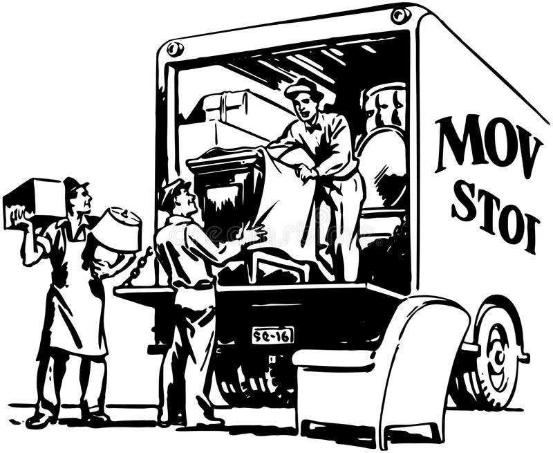 Packing Moving Van stock illustration