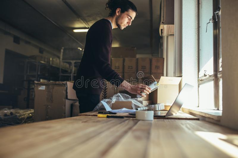 Packing online order to delivery royalty free stock photography