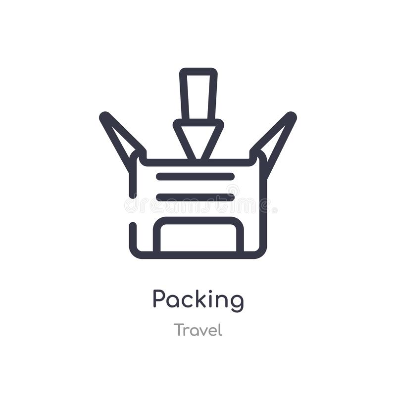 Packing outline icon. isolated line vector illustration from travel collection. editable thin stroke packing icon on white. Background vector illustration