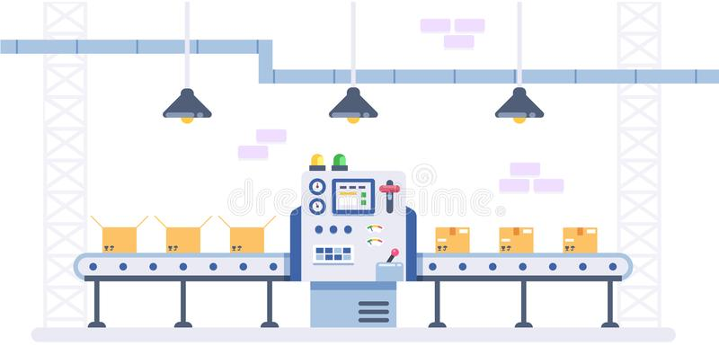 Packing and Production line concept in flat style. Industrial machine vector illustration. Cardboard Boxes on conveyor vector illustration
