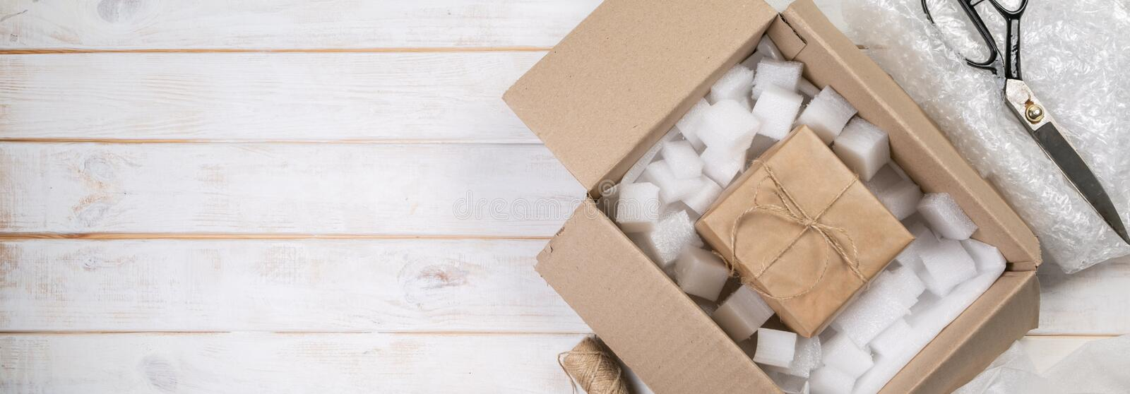 Packing products for delivery, shipping service royalty free stock photo
