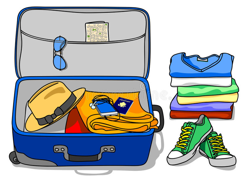 Packing Set Of Things Into A Suitcase Stock Vector ... Packing Luggage Clipart