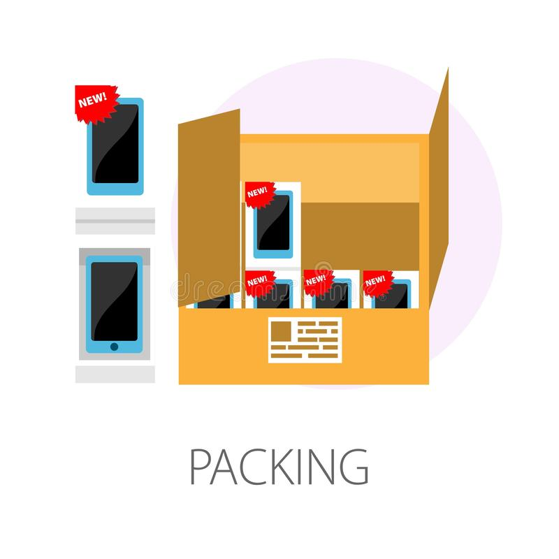Packing smartphones consignment in box development and production. Smartphones consignment in box packaging development and production vector isolated icon new royalty free illustration