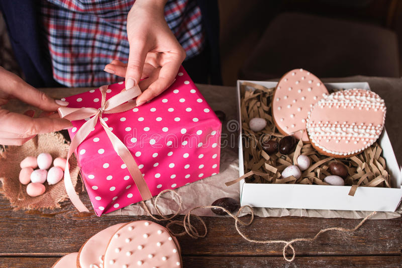 Packing sweet Easter handmade present royalty free stock photo