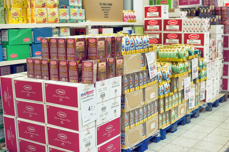 Packing of tea on supermarket shelves. Lapenranta, Finland stock photo
