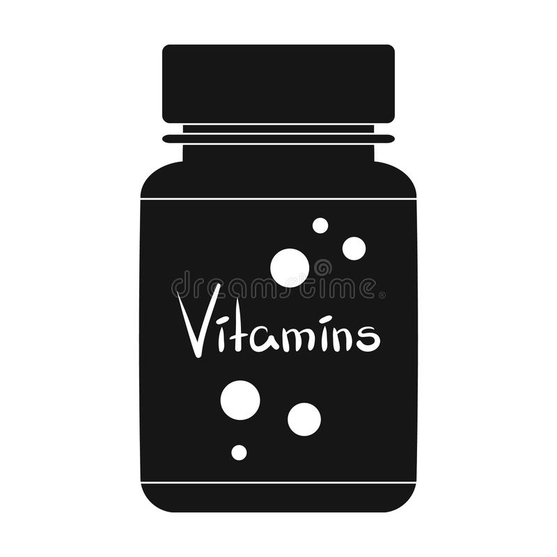 Packing with vitamins.Medicine single icon in black style vector symbol stock illustration web. Packing with vitamins.Medicine single icon in black style vector stock illustration