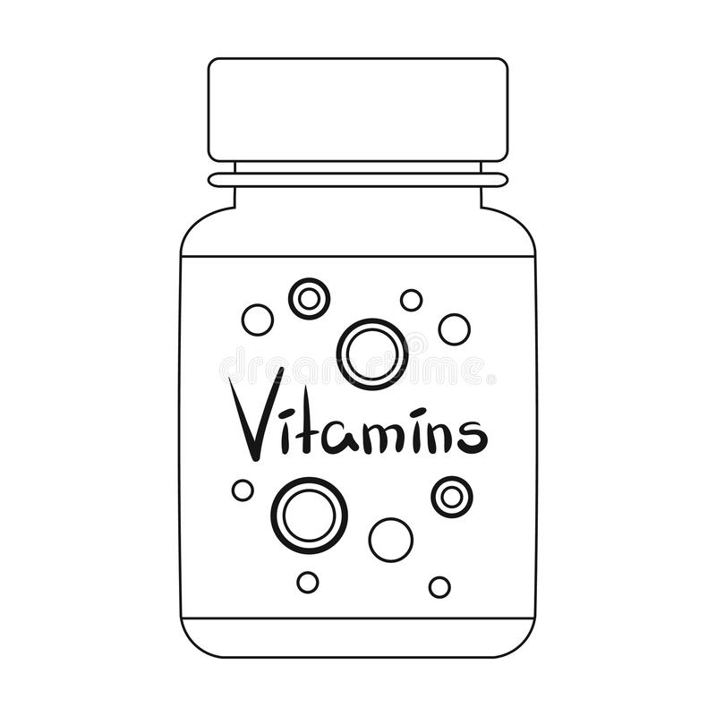 Packing with vitamins.Medicine single icon in black style vector symbol stock illustration web. Packing with vitamins.Medicine single icon in black style vector royalty free illustration