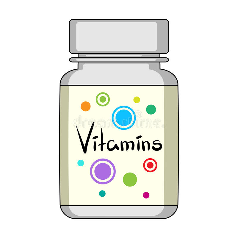 Packing with vitamins.Medicine single icon in cartoon style rater,bitmap symbol stock illustration web. Packing with vitamins.Medicine single icon in cartoon royalty free illustration
