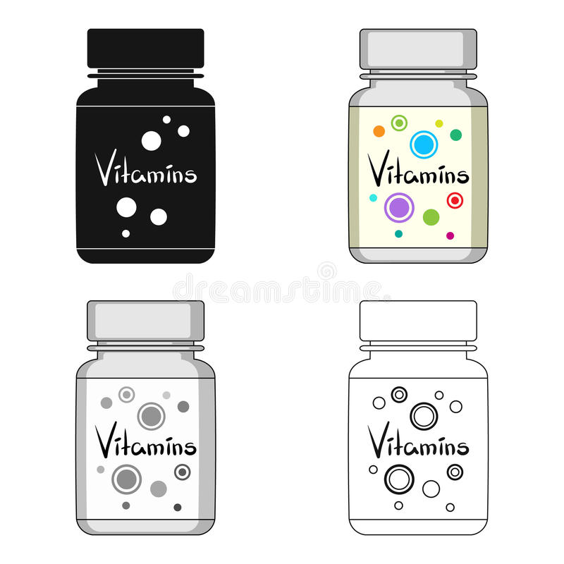 Packing with vitamins.Medicine single icon in cartoon style vector symbol stock illustration web. Packing with vitamins.Medicine single icon in cartoon style royalty free illustration
