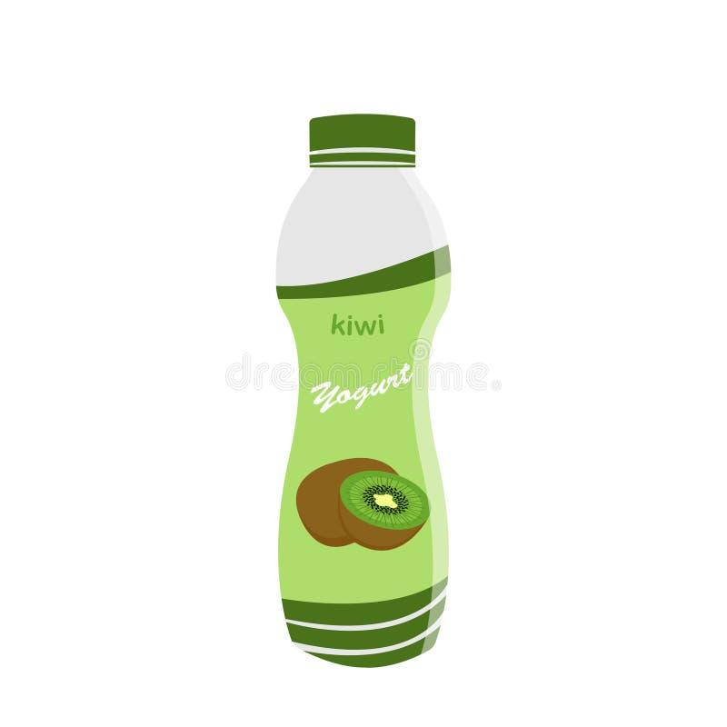 Packing yogurt with a teaspoon. Kiwi Yogurt. Vector illustration royalty free illustration
