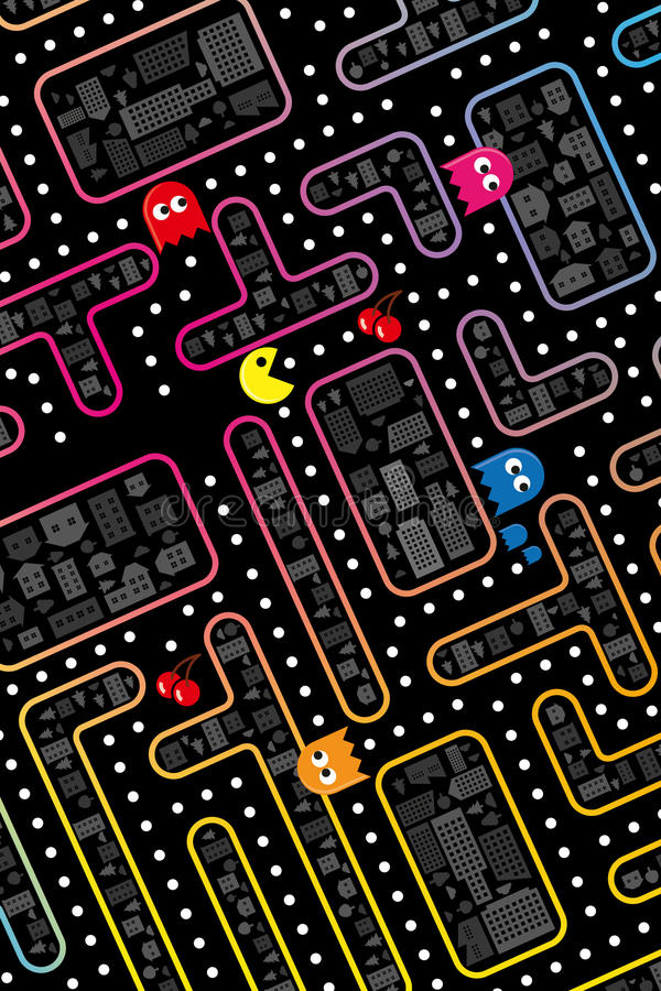 Pacman. Game in the city illustration