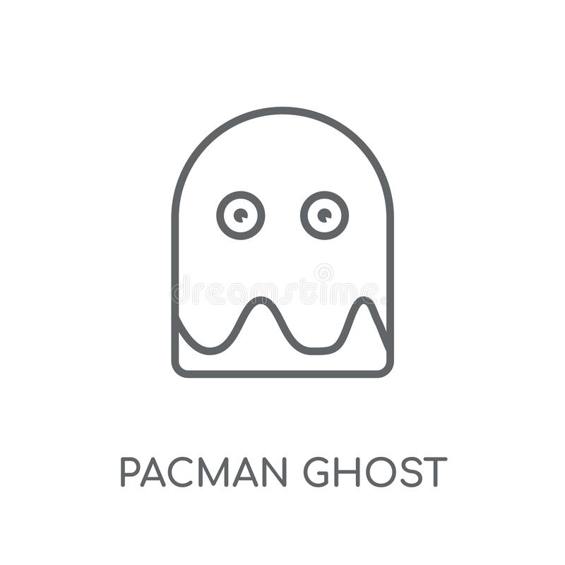 Pacman ducha liniowa ikona Nowożytny konturu Pacman ducha logo conce ilustracja wektor