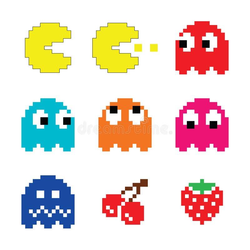 Pacman e ícones do jogo de computador dos anos 80 dos fantasmas ajustados ilustração stock