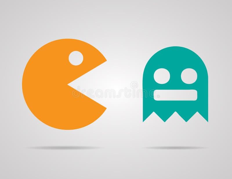 Pacman, fantasmas, ícones retros do jogo da cor 8bit ajustados fotos de stock royalty free