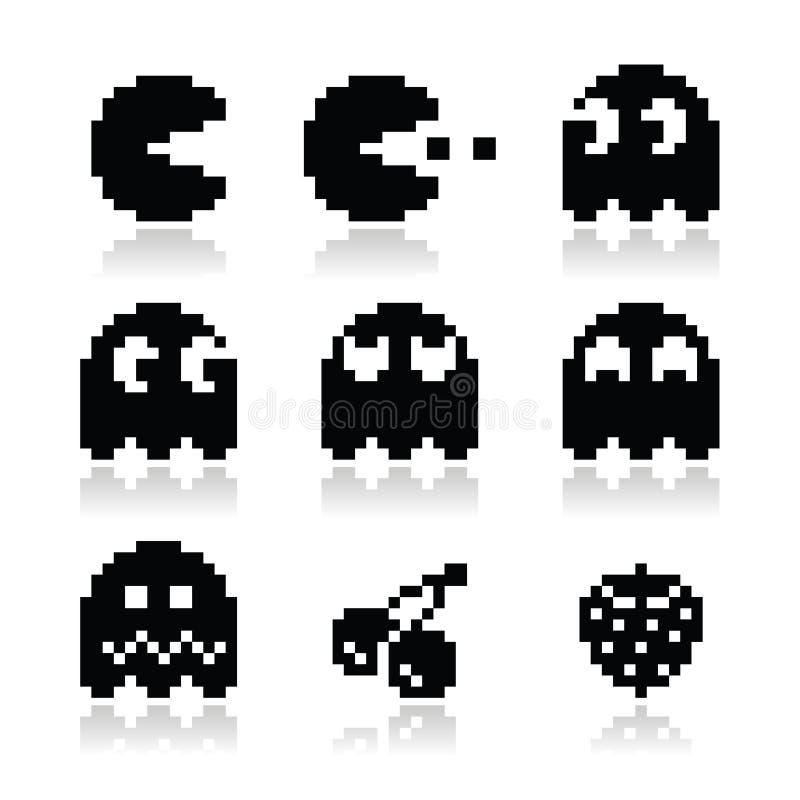 Pacman, fantasmas, iconos retros del juego 8bit fijados ilustración del vector