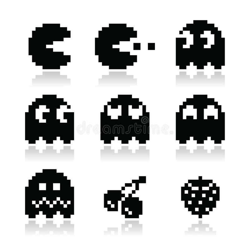 Download Pacman, Ghosts, 8bit Retro Game Icons Set Stock Illustration - Illustration of kill, cherry: 32394479